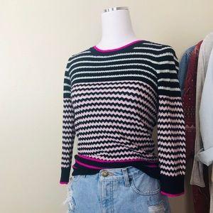 J. Crew Chevron Merino Wool Pink Tippi Sweater